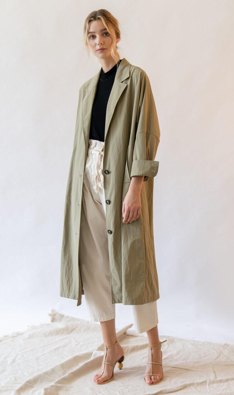 Khaki volume sleeve cotton blend trench coat