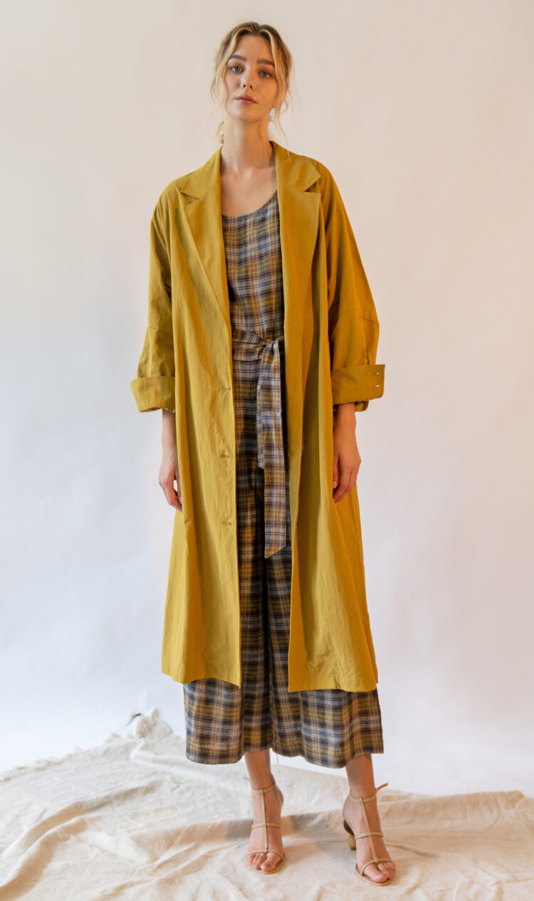 Mustard volume sleeve cotton blend trench coat