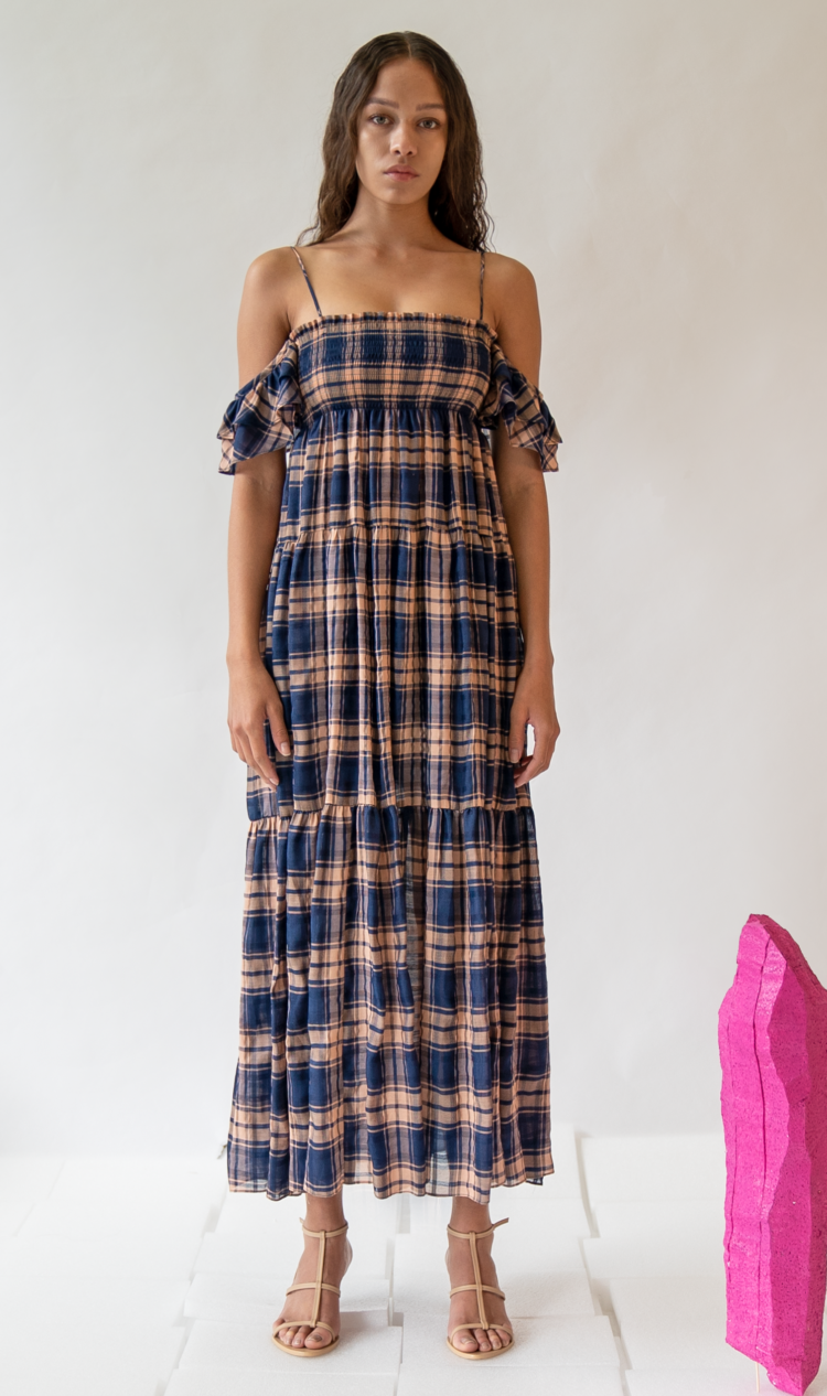 Navy check ruffle off-the-shoulder dress