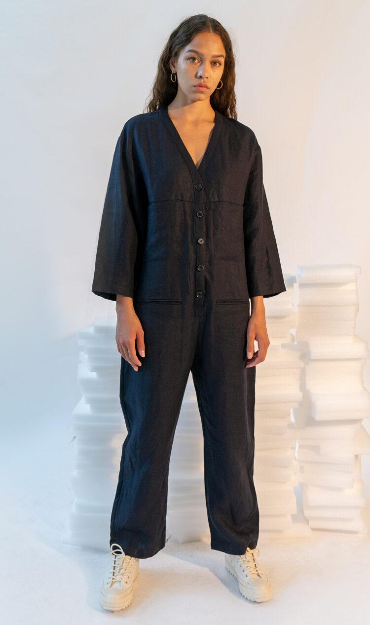 Navy wide sleeve linen utility jumpsuit