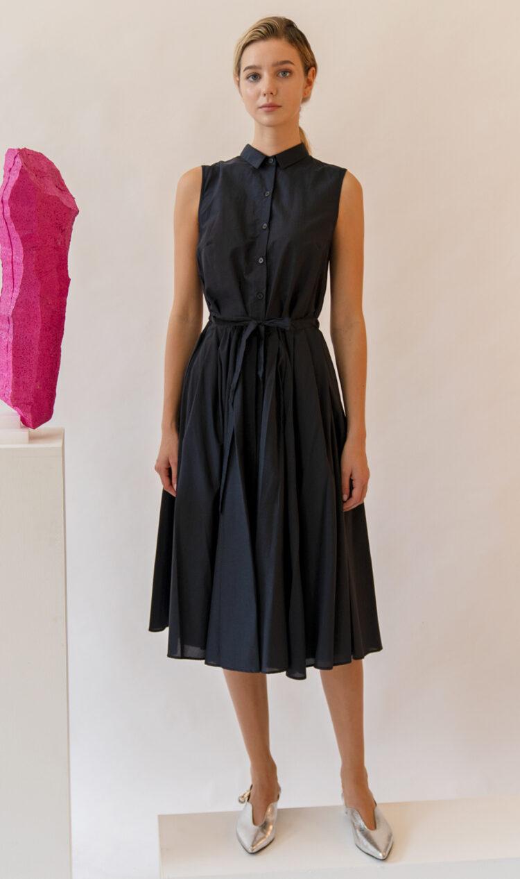 Navy sleeveless pleated double layer cotton dress