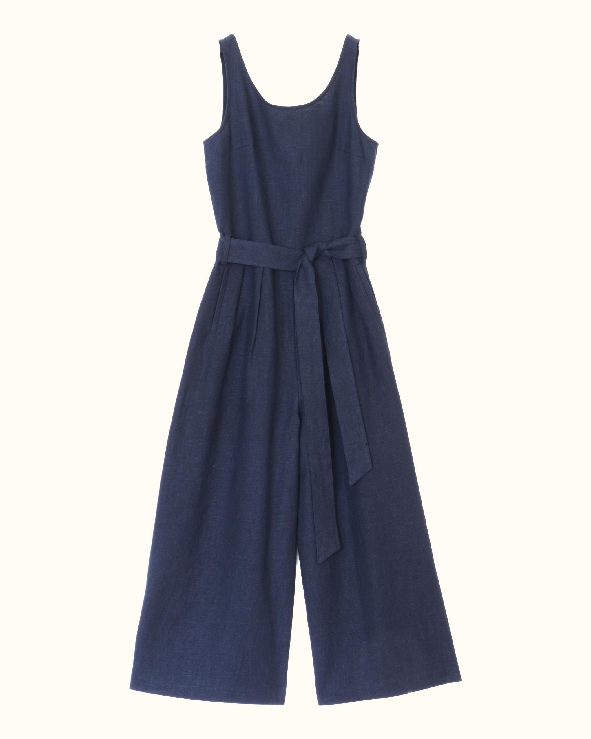 Navy sleeveless scoop back linen jumpsuit.