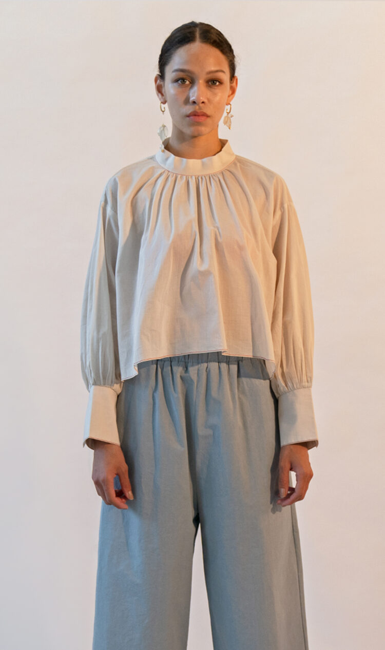 Off-white high neck contrast stitch blouse