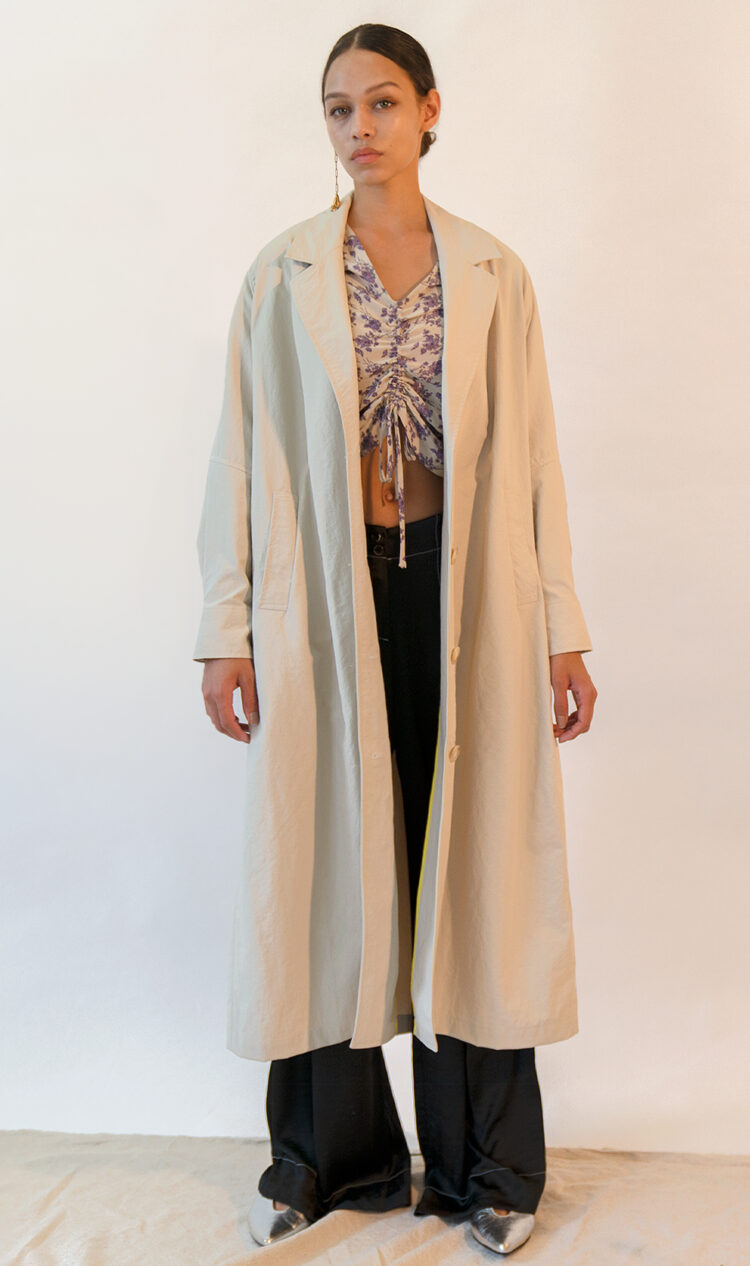 Off-white volume sleeve cotton blend trench coat