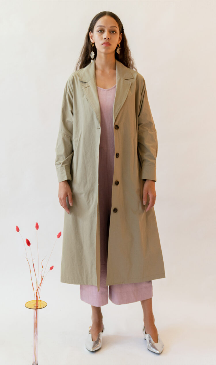 Pale khaki volume sleeve cotton blend trench coat