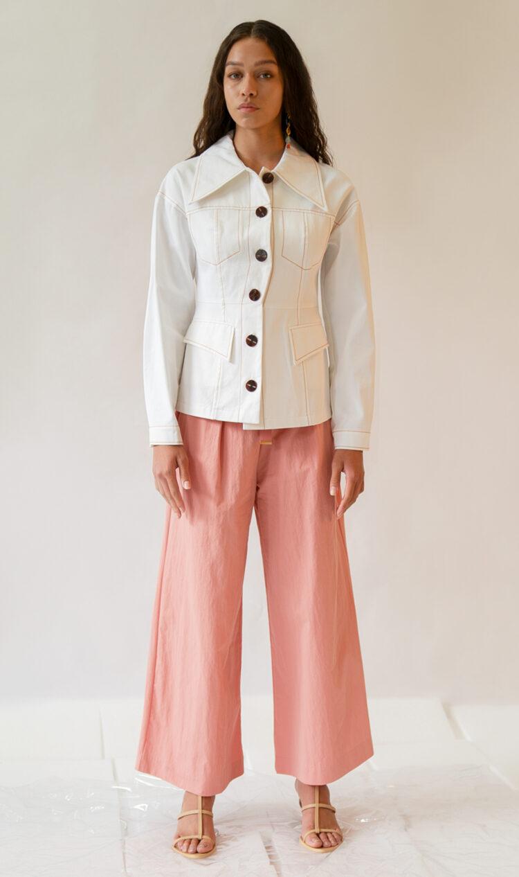Pink elasticated waist ribbon tie cotton blend culottes