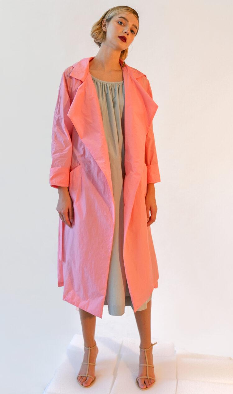 Pink lightweight trench style rain jacket