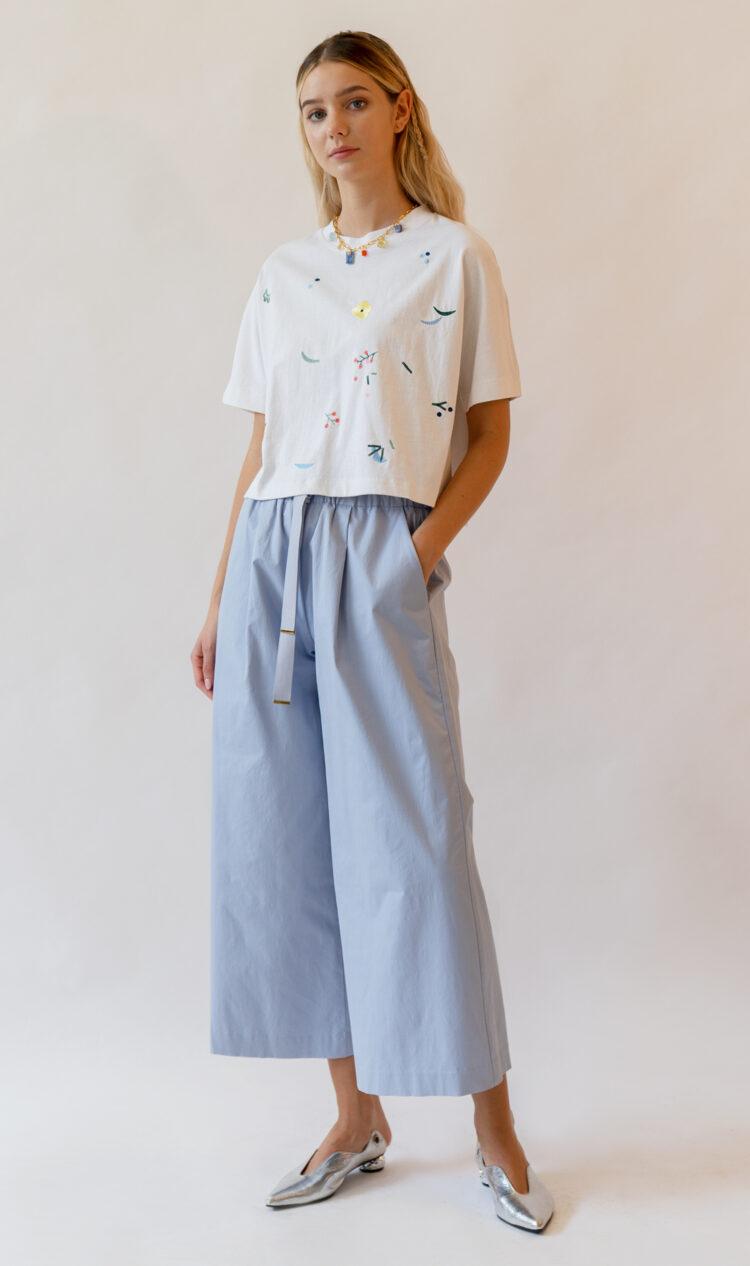 Sky elasticated waist ribbon tie cotton blend culottes