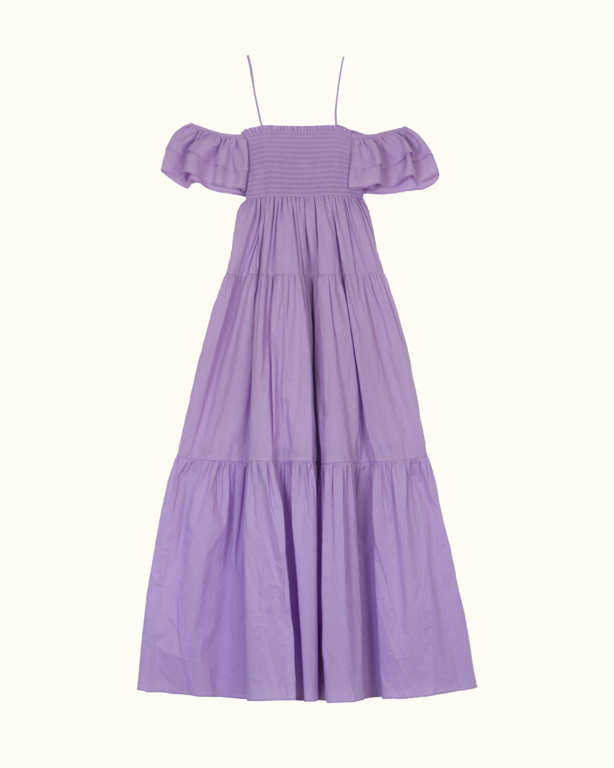 A violet off-the-shoulder dress.