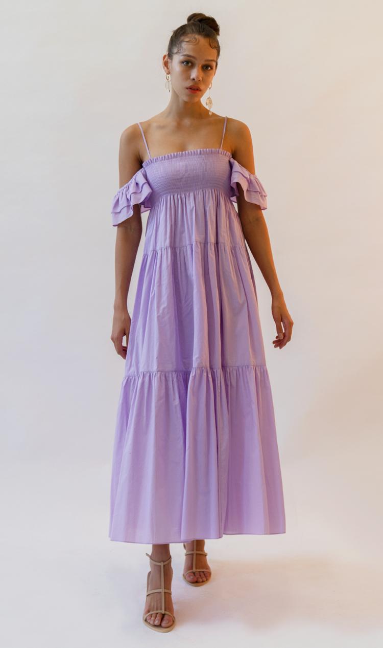 Violet ruffle off-the-shoulder dress