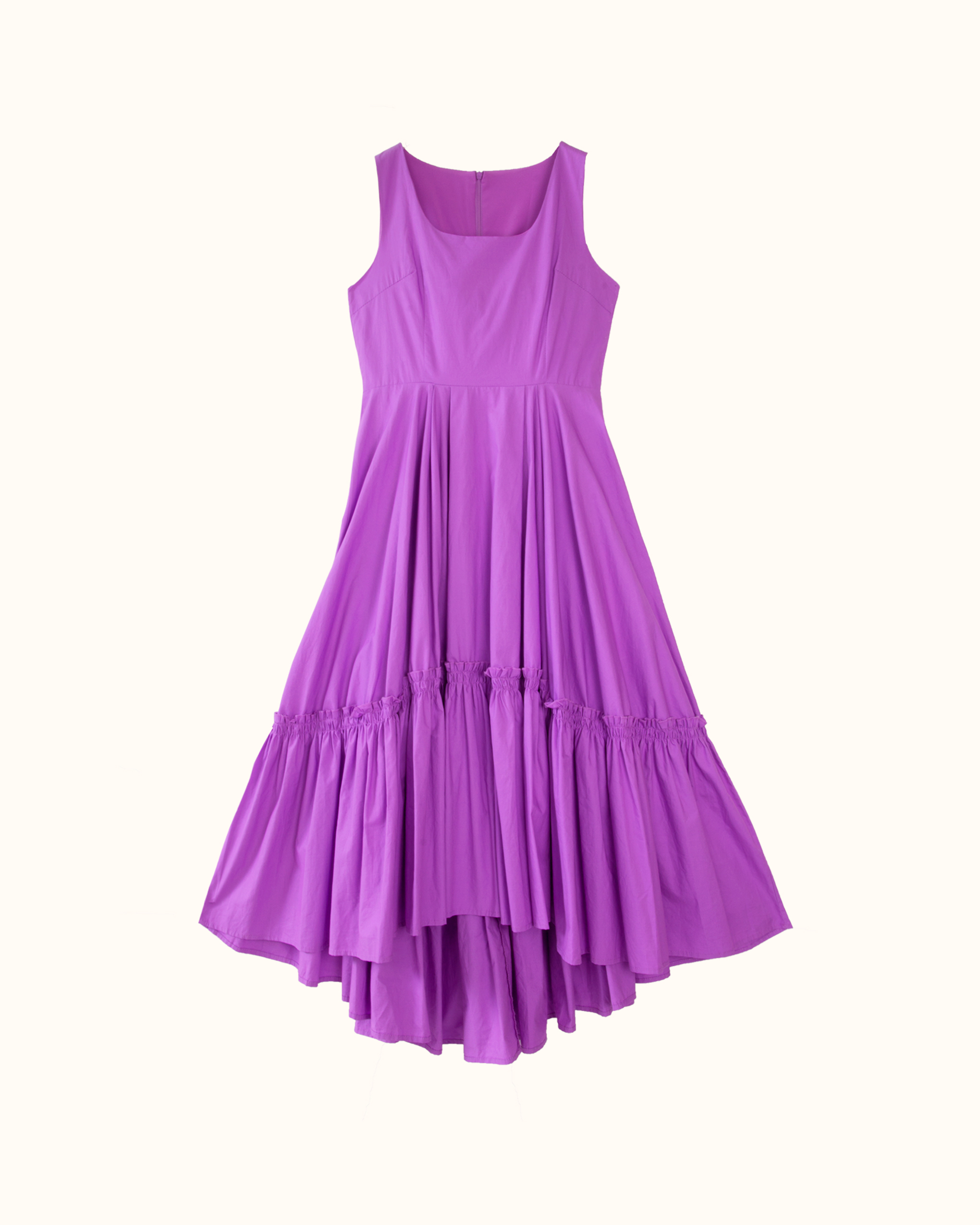 A violet sleeveless curved gathered skirt cotton dress.