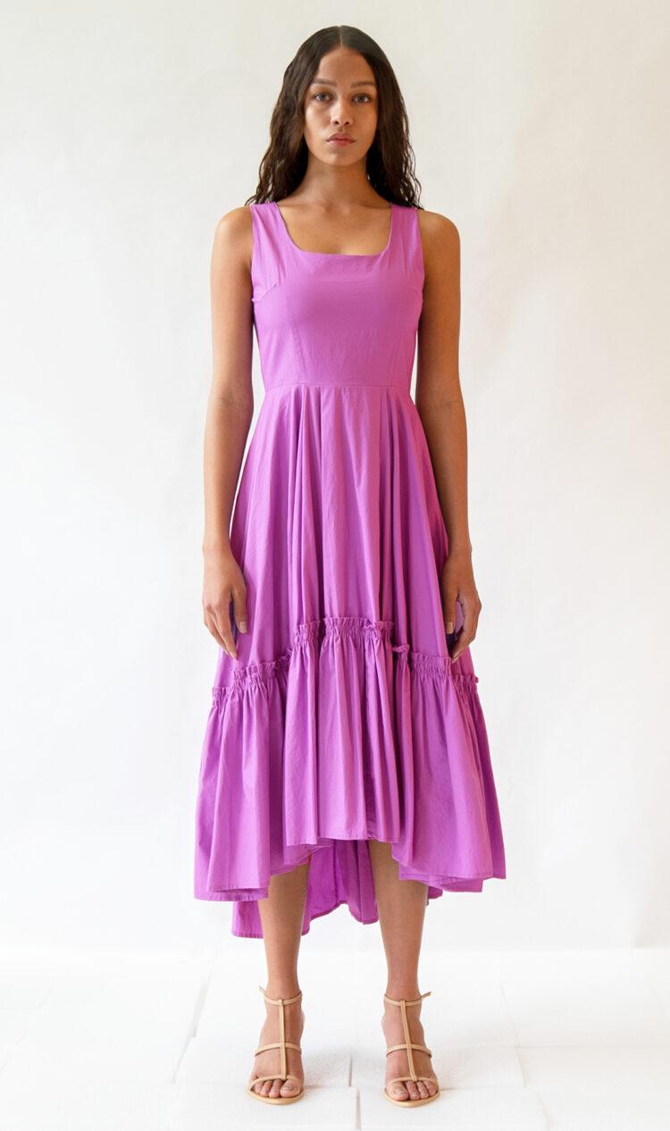 Violet sleeveless curved gathered skirt cotton dress
