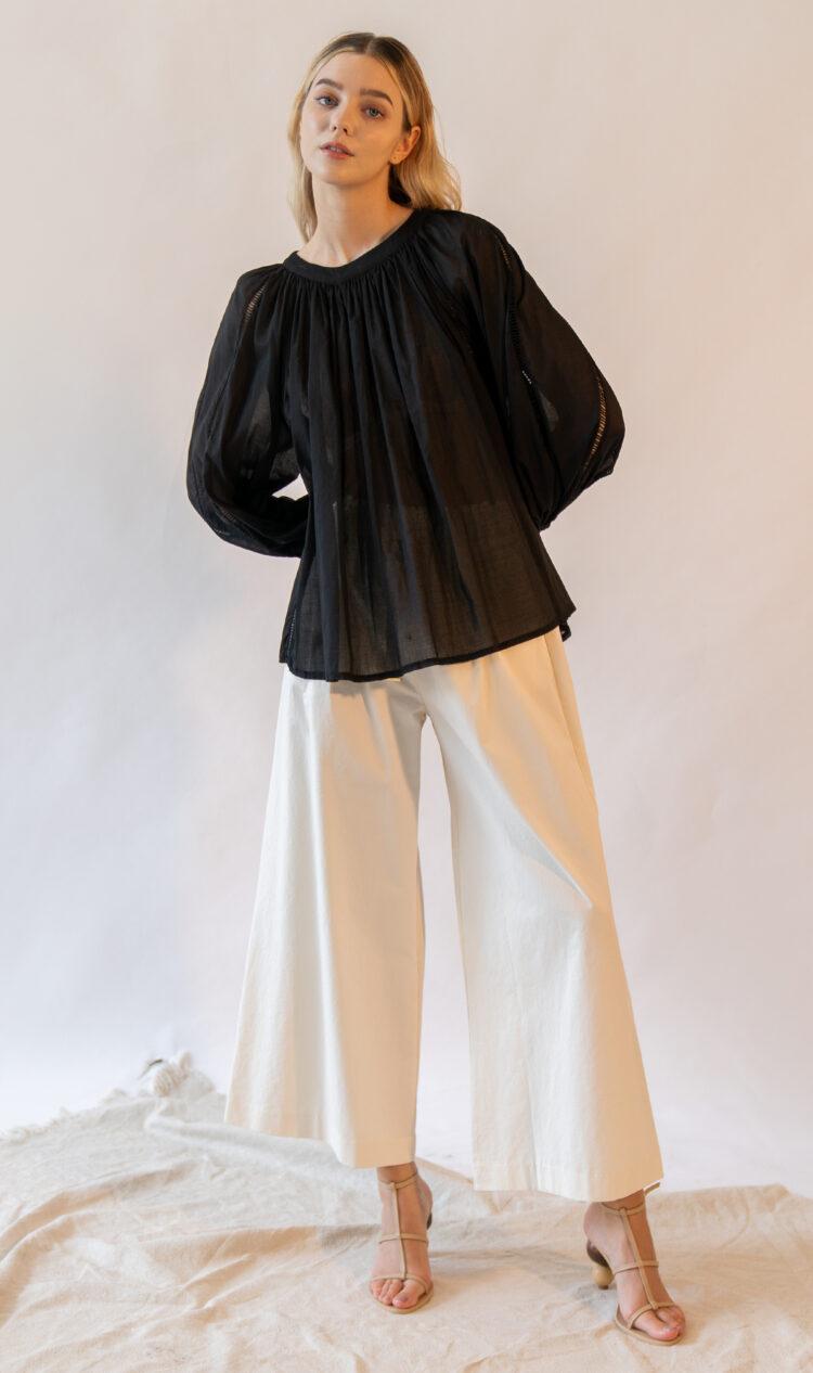 White elasticated waist ribbon tie cotton blend culottes