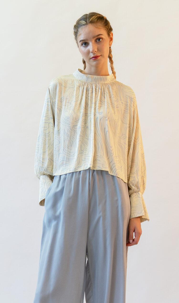 Yellow ripple print high neck blouse