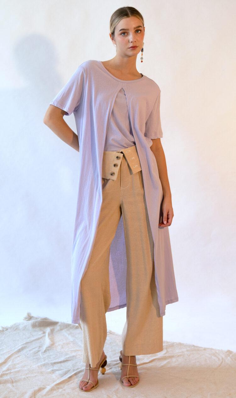 Lavender layered t-shirt dress