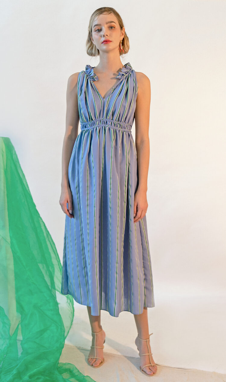 Sky-stripe gathered dress