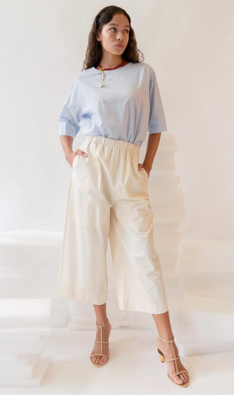 White elasticated waist culottes