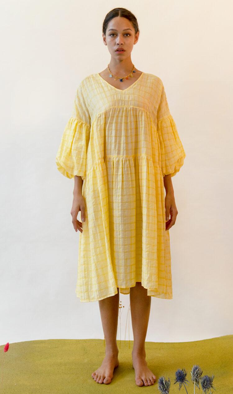 Yellow-check puff sleeve smock dress