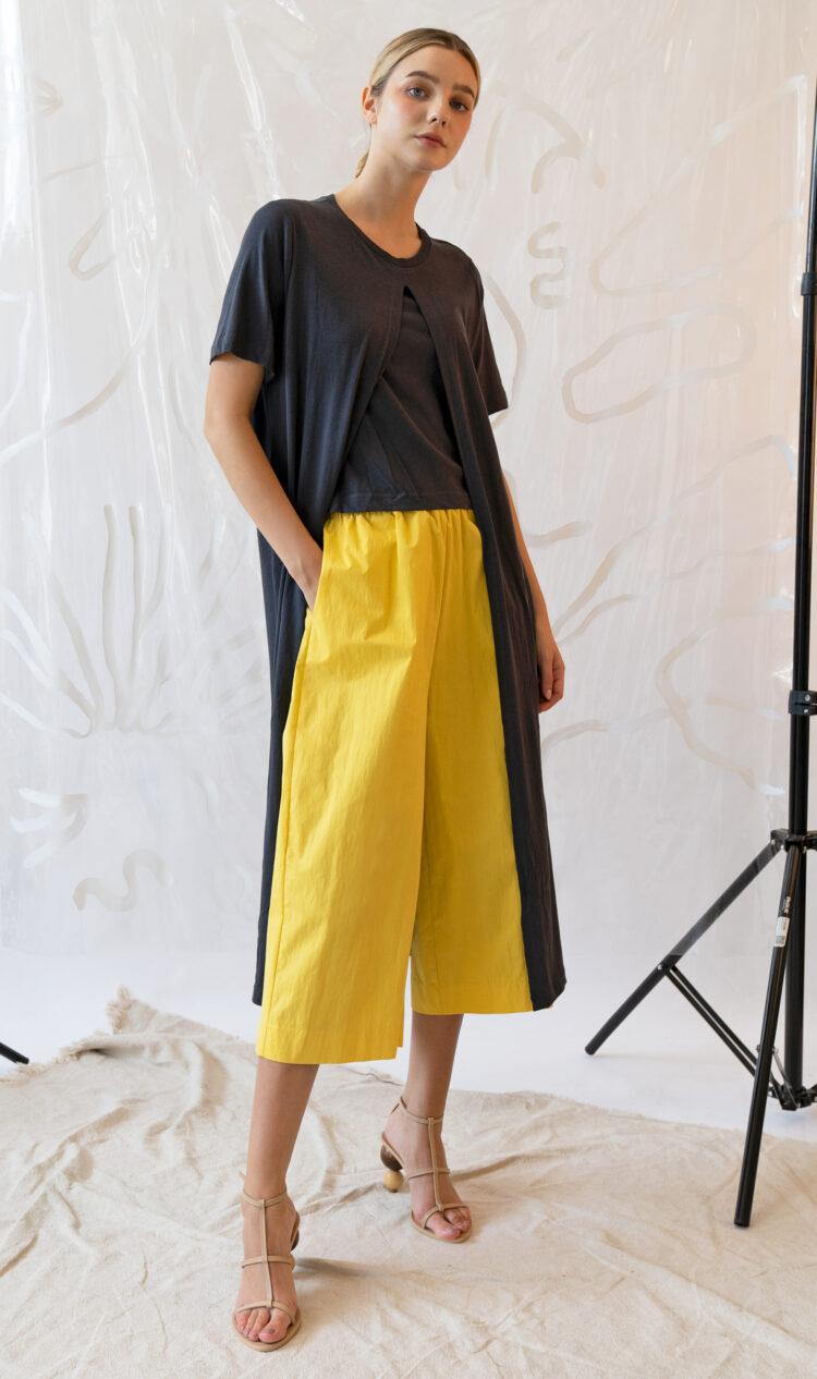 Yellow elasticated waist culottes