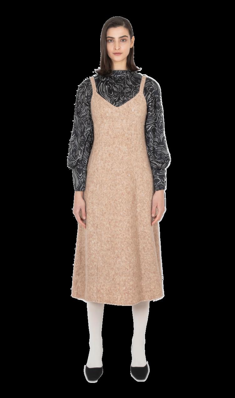 Beige felted wool dress