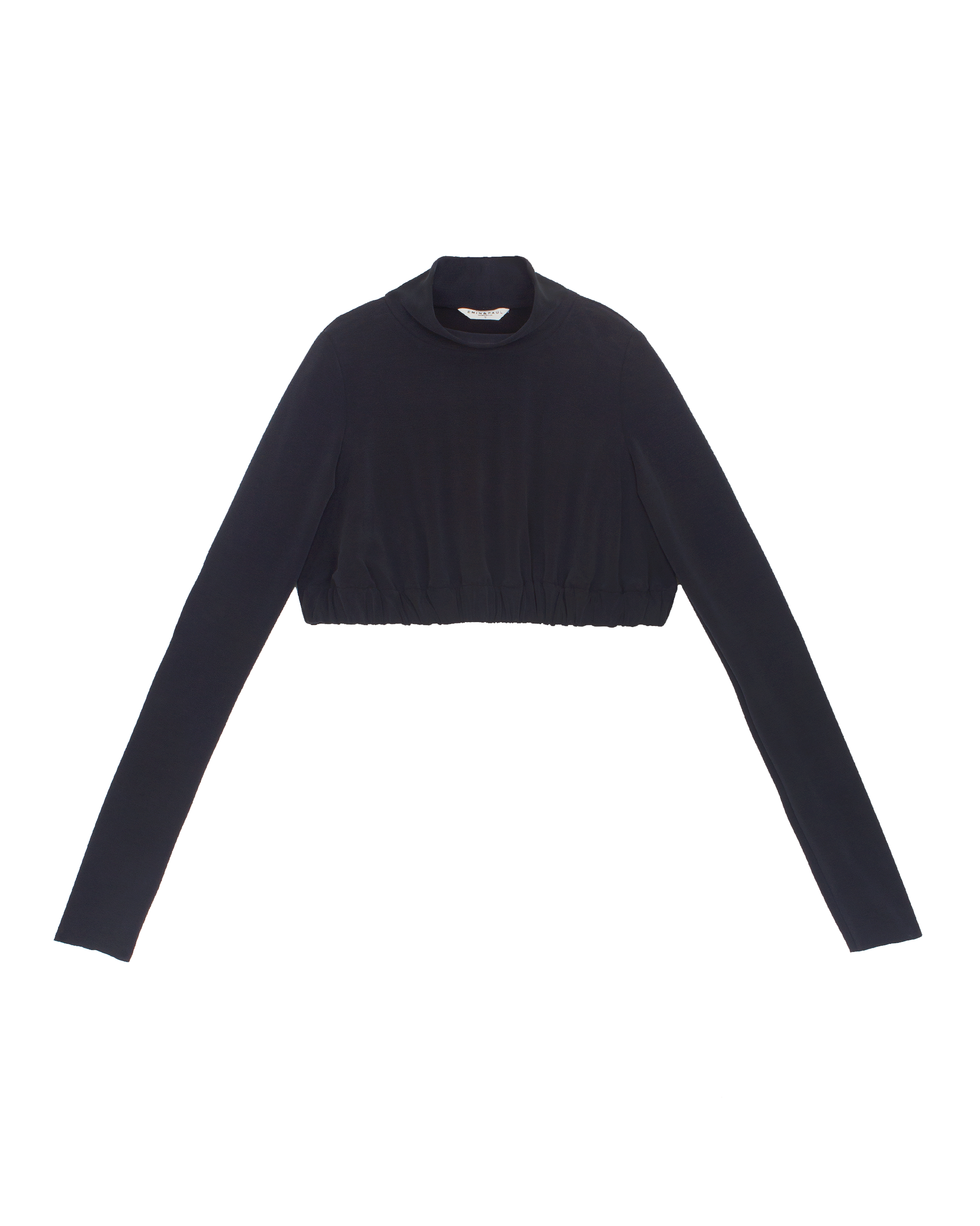 EMIN + PAUL black cropped jersey jumper.