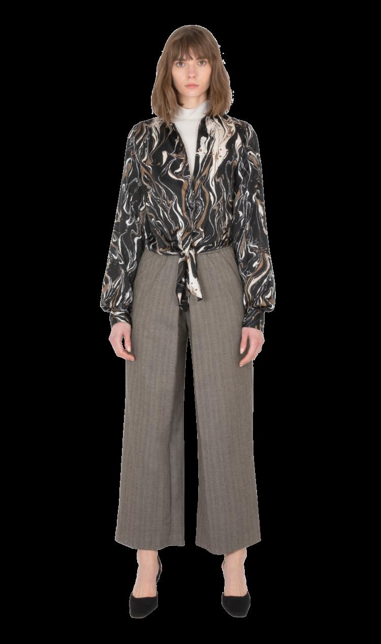 Black-print tie-front blouse
