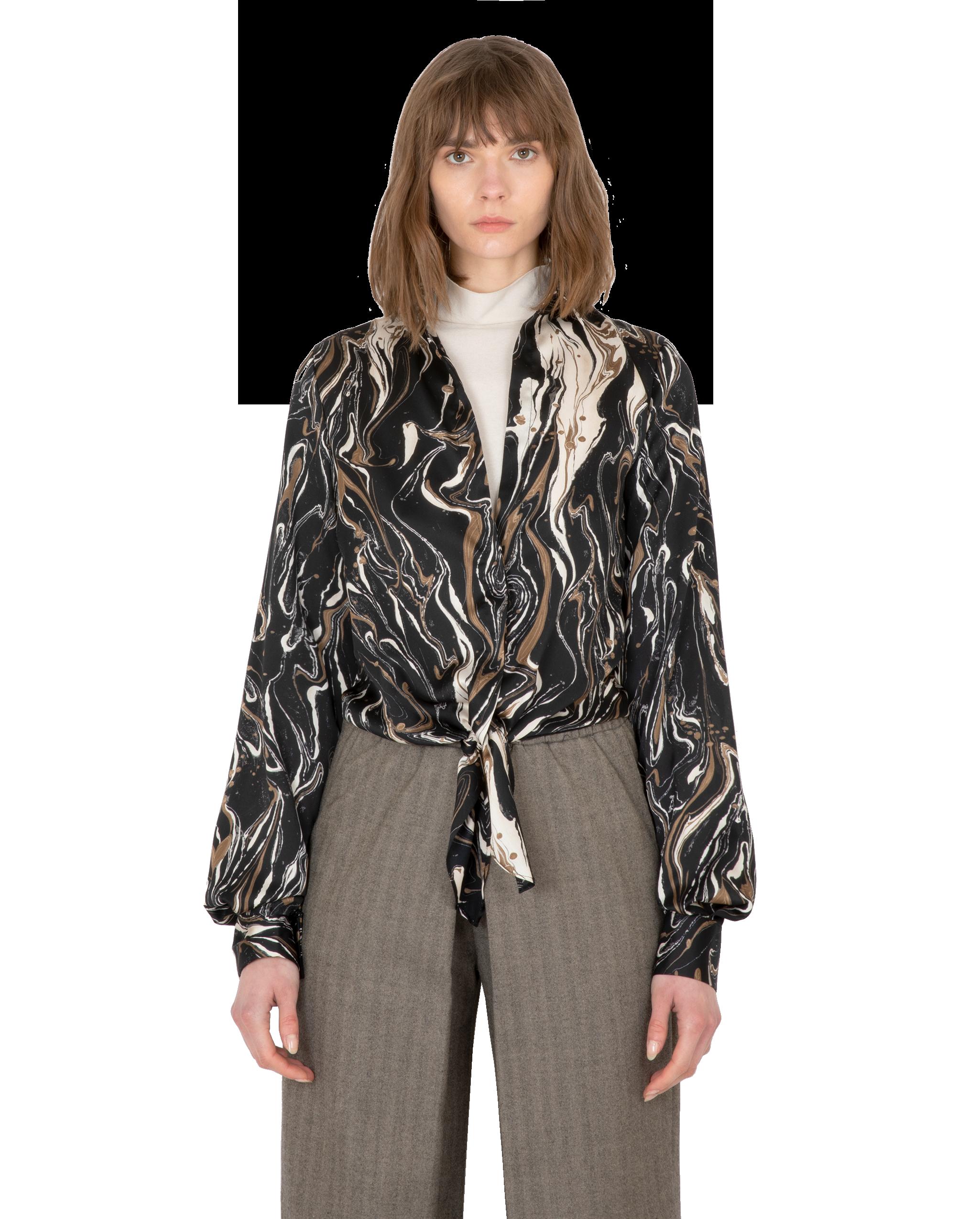 Model wearing EMIN + PAUL black print tie-front blouse.