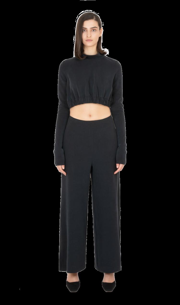 Black side split trousers