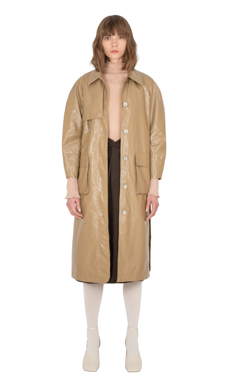 Brown faux patent leather trench coat