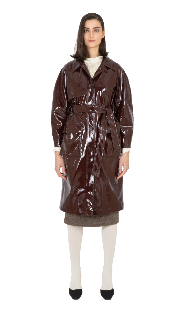 Burgundy faux patent leather trench coat