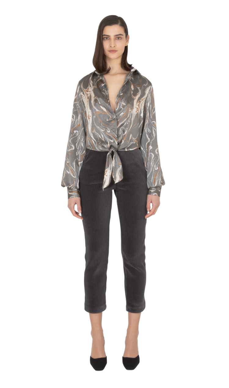 Charcoal-print tie-front blouse