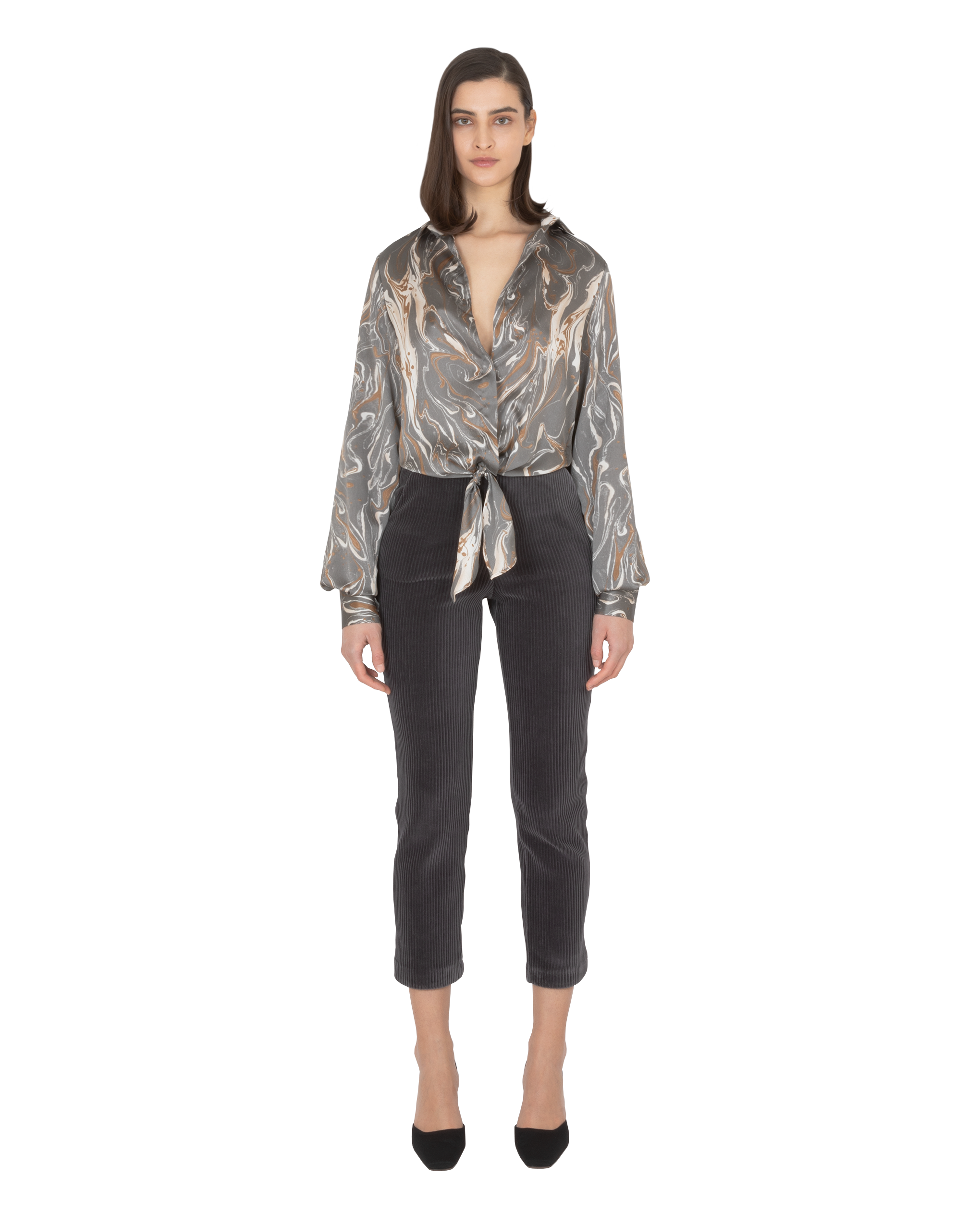Model wearing EMIN + PAUL charcoal print tie-front blouse.
