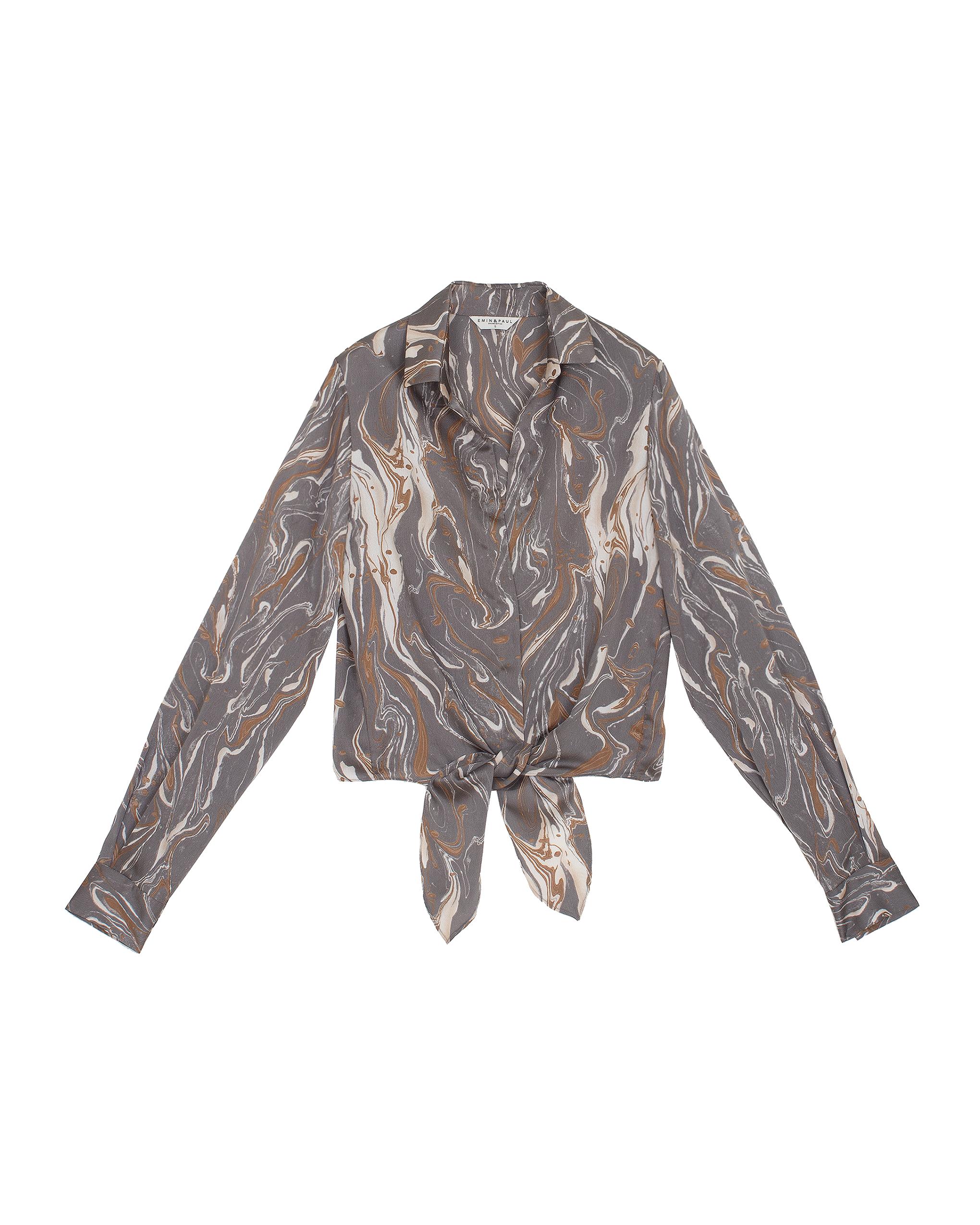 EMIN + PAUL charcoal print tie-front blouse.