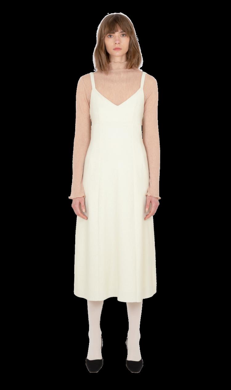 Cream felted wool dress