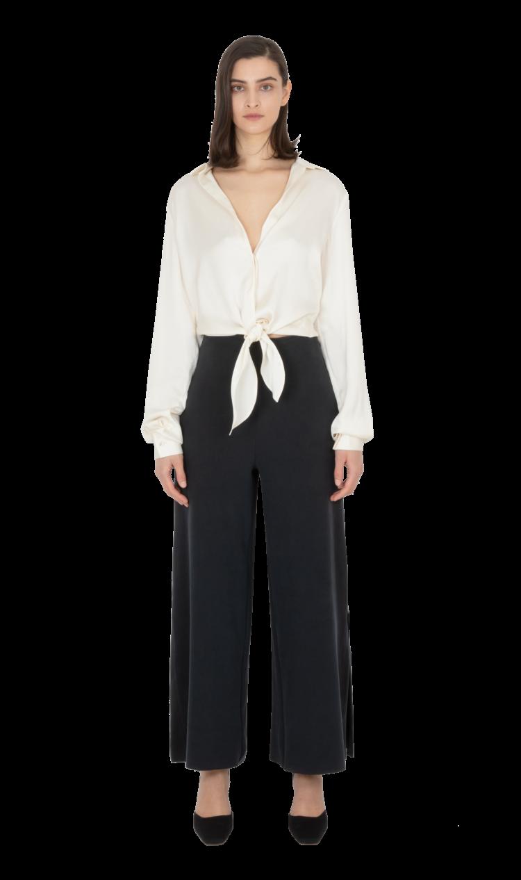 Cream tie-front blouse