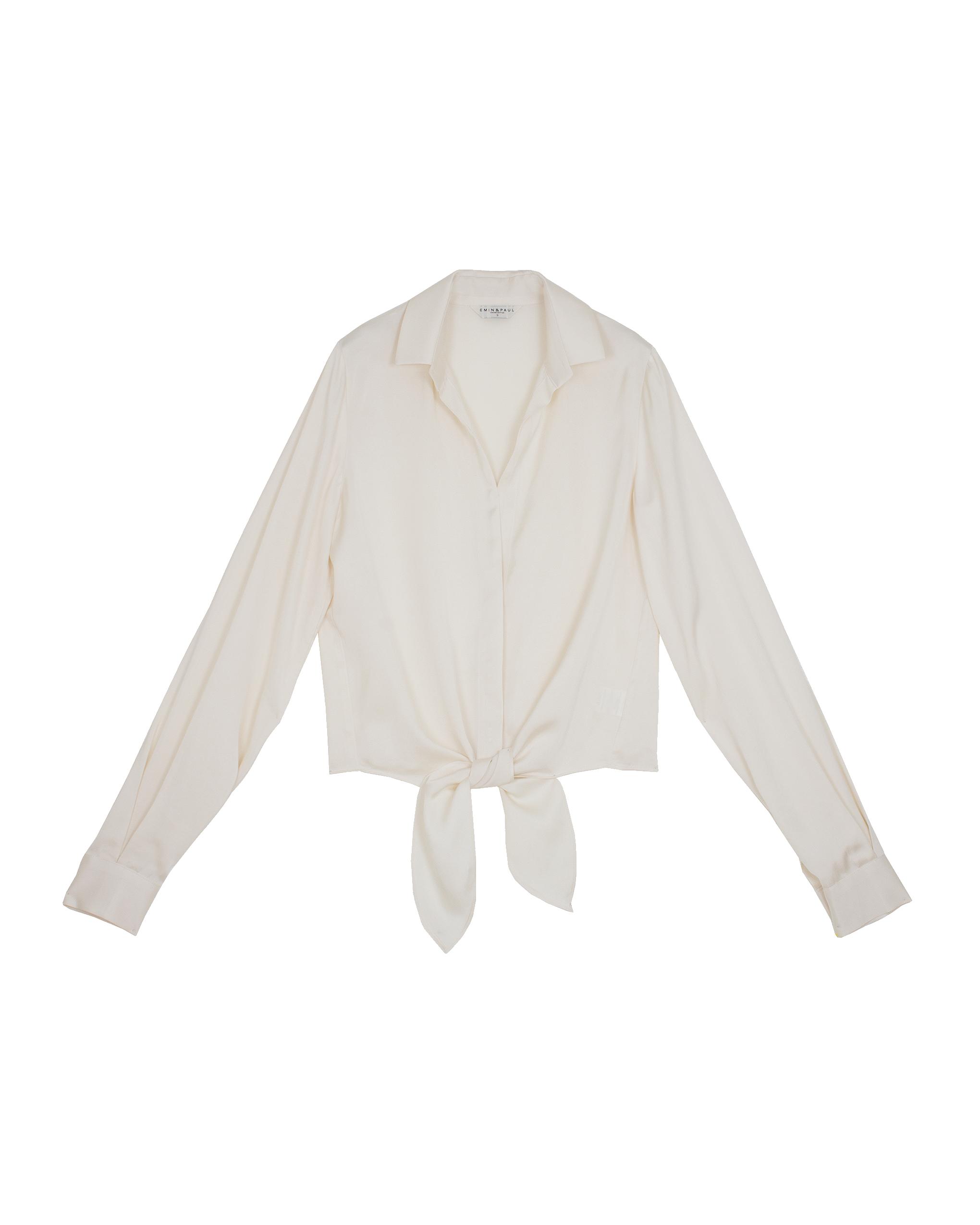 EMIN + PAUL cream tie-front blouse.