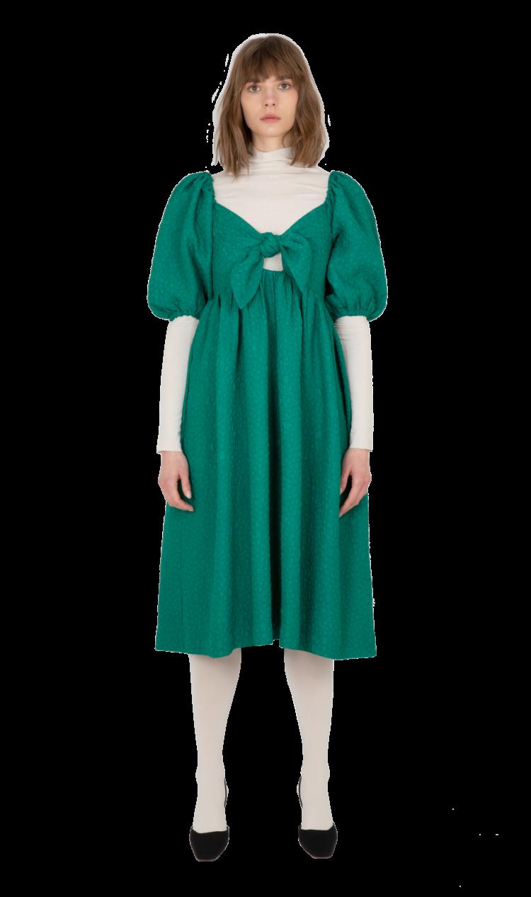 Green puff sleeve dress