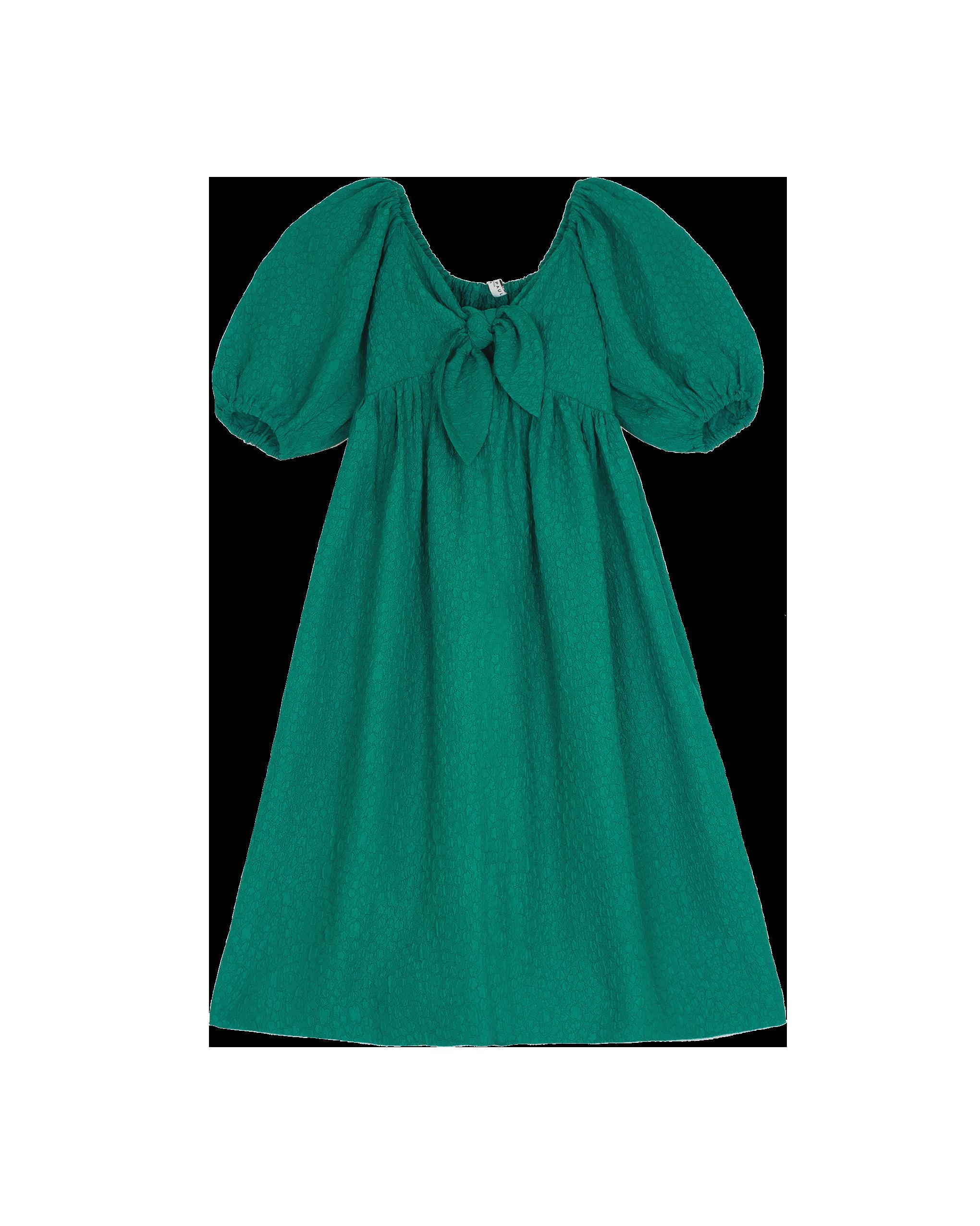 EMIN + PAUL green puff sleeve dress.
