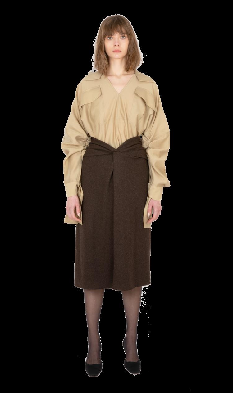 Khaki ruched sleeve blouse