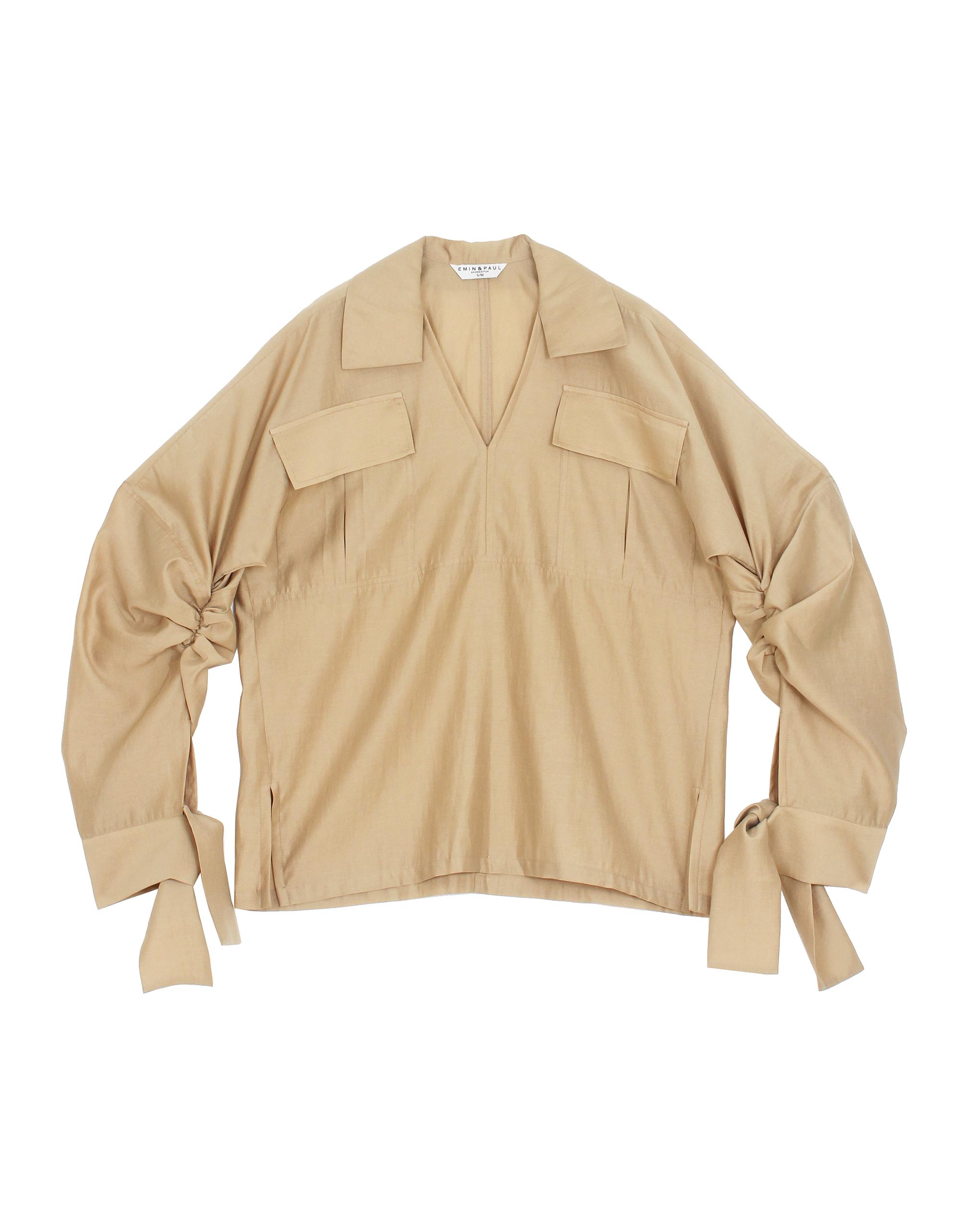 EMIN + PAUL khaki ruched sleeve blouse.
