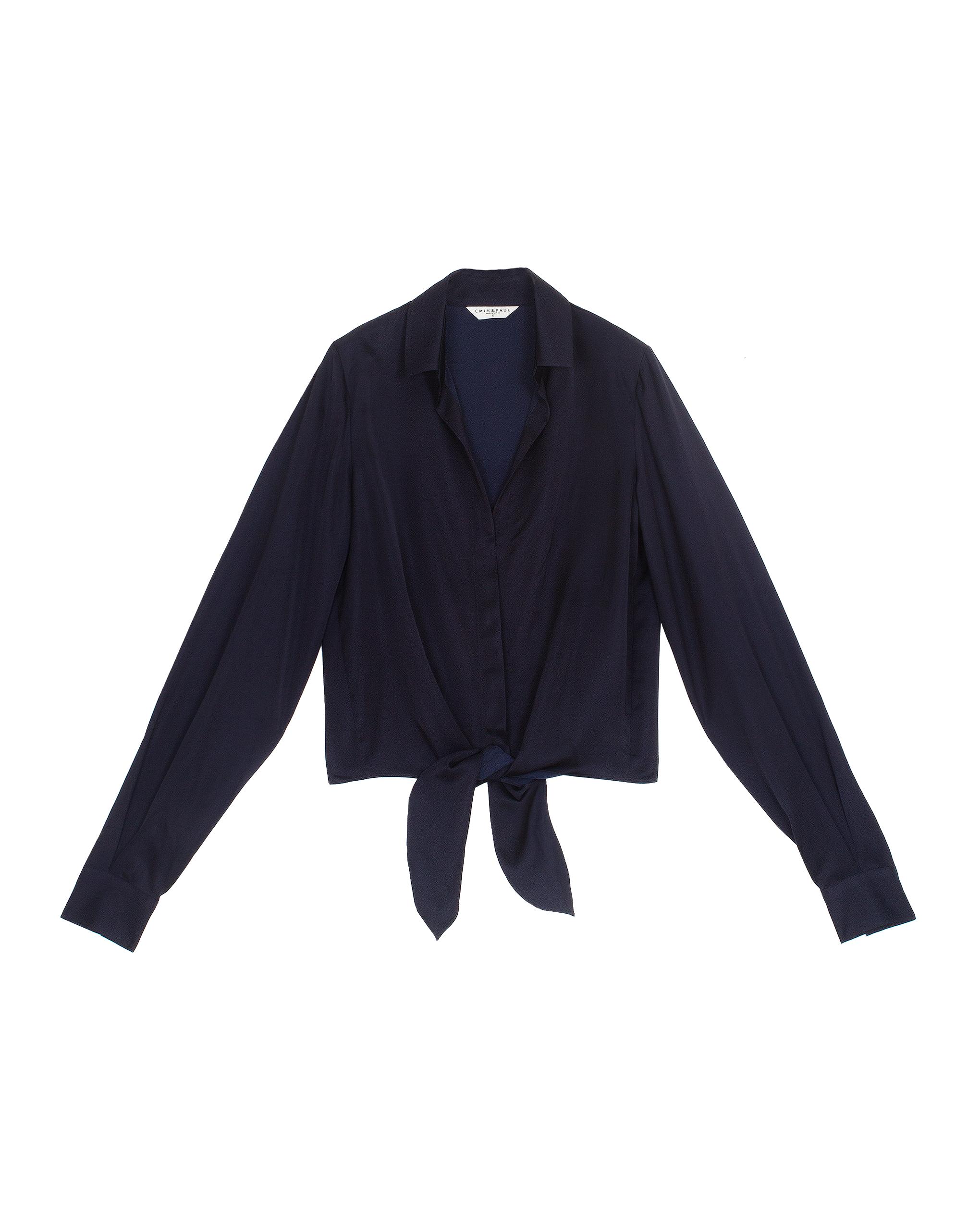 EMIN + PAUL navy tie-front blouse.
