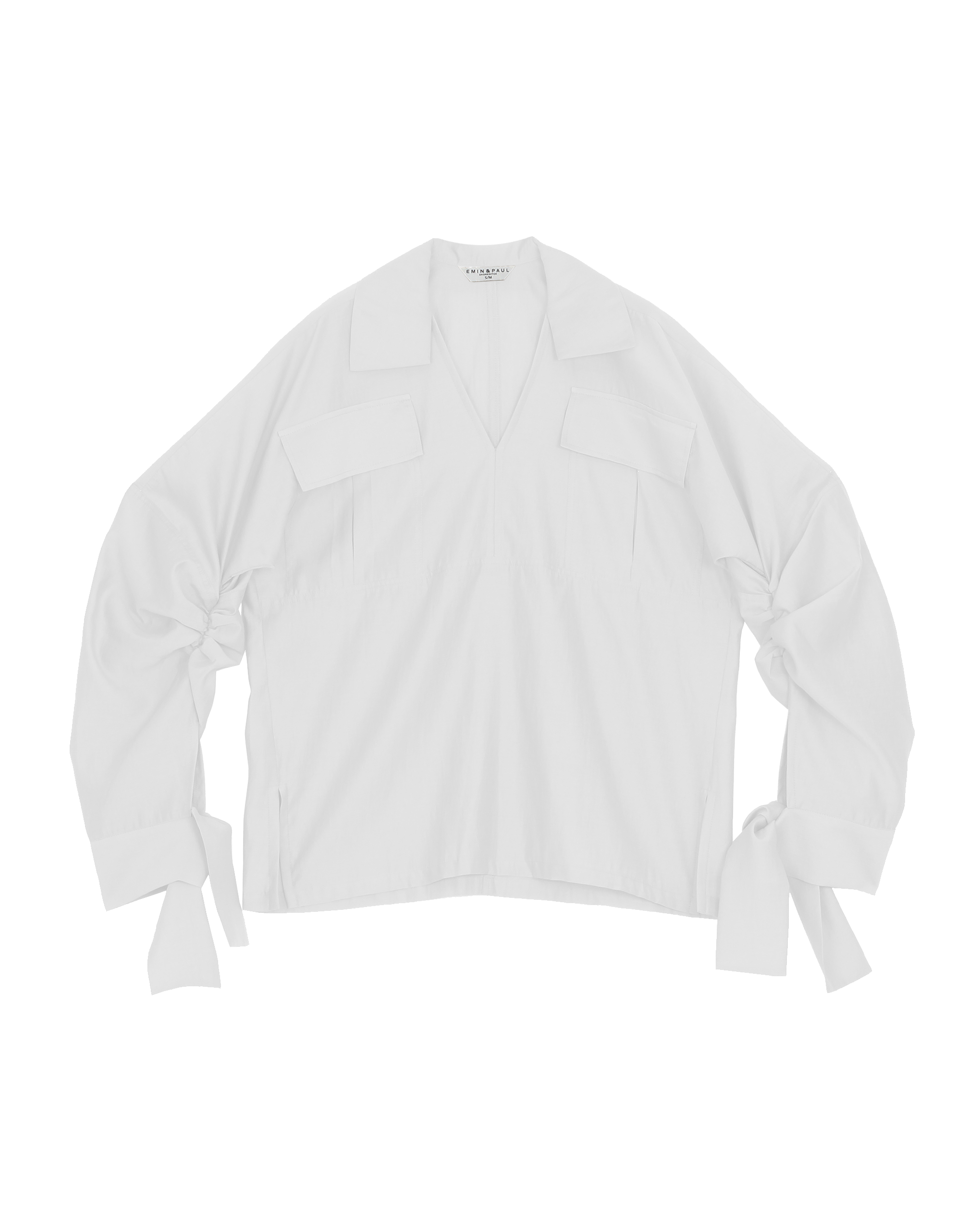 EMIN + PAUL white ruched sleeve blouse.
