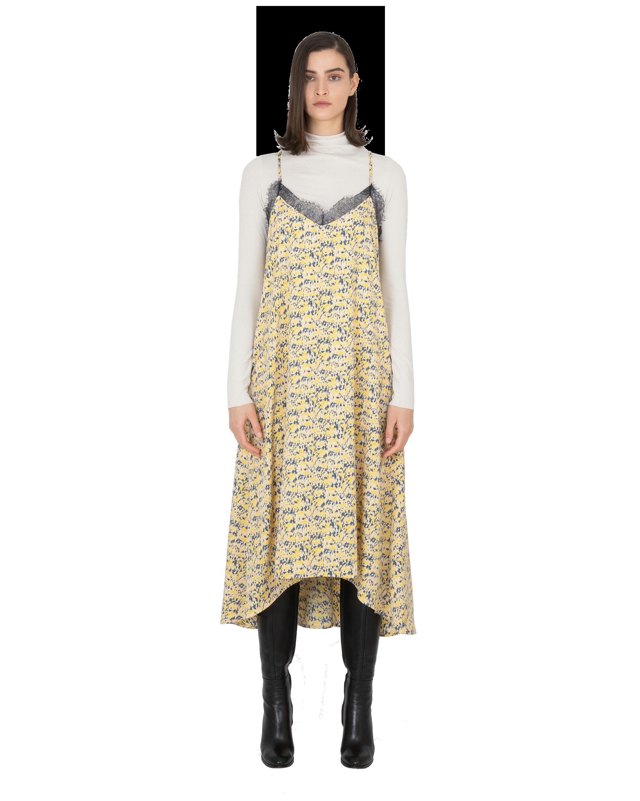 Model wearing EMIN + PAUL yellow print strappy dress.