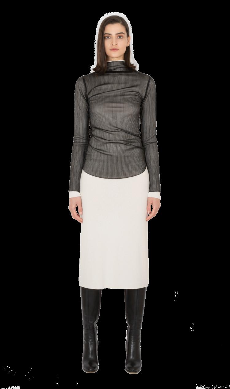 Black-shine lettuce edge blouse