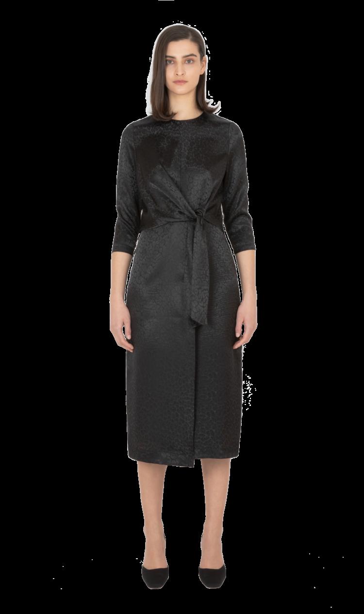 Black tie-front dress