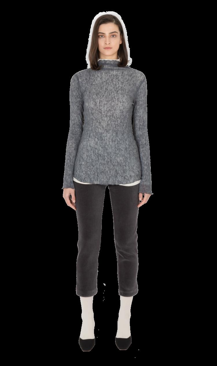 Charcoal lettuce edge blouse
