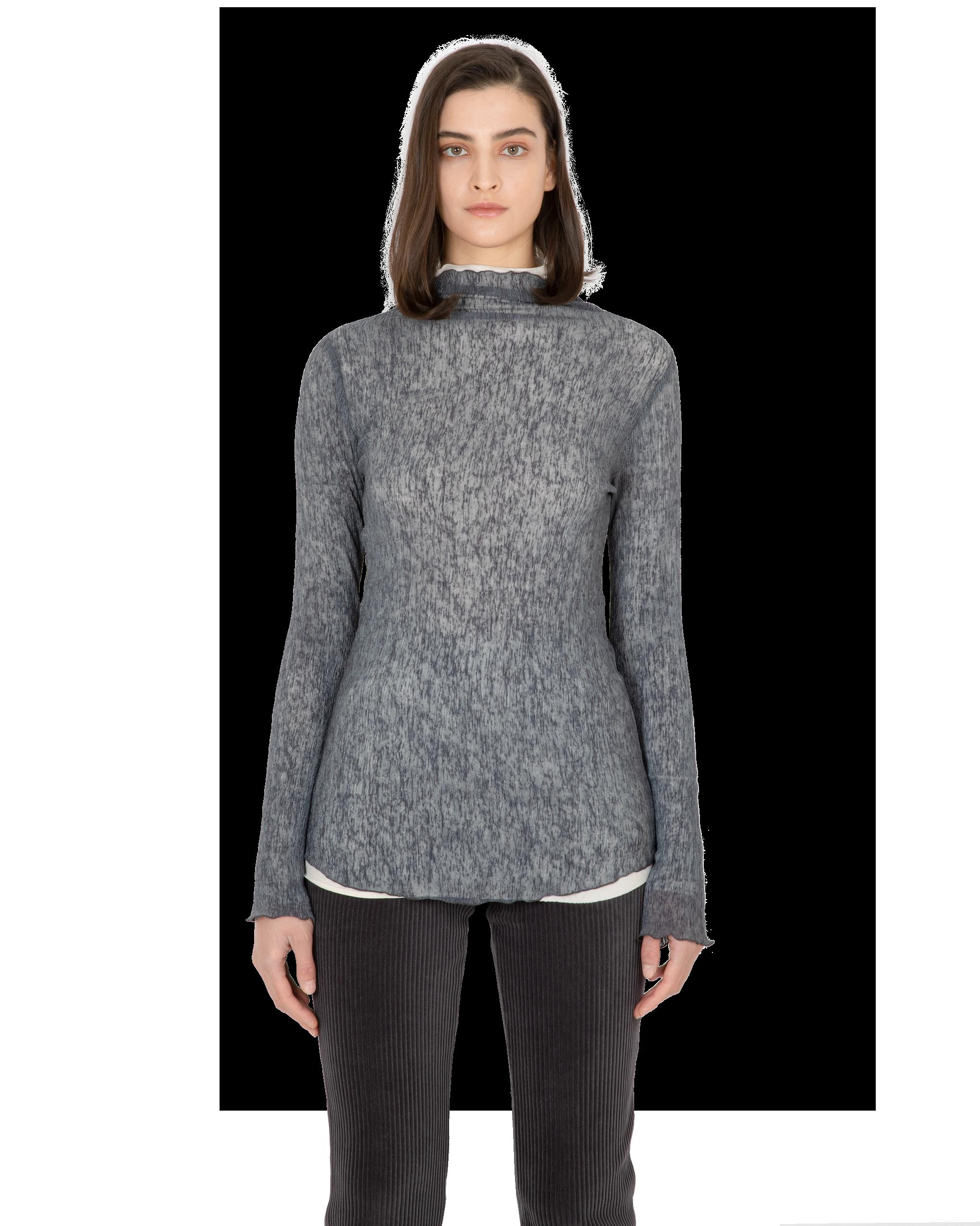 Model wearing EMIN + PAUL charcoal lettuce edge blouse.