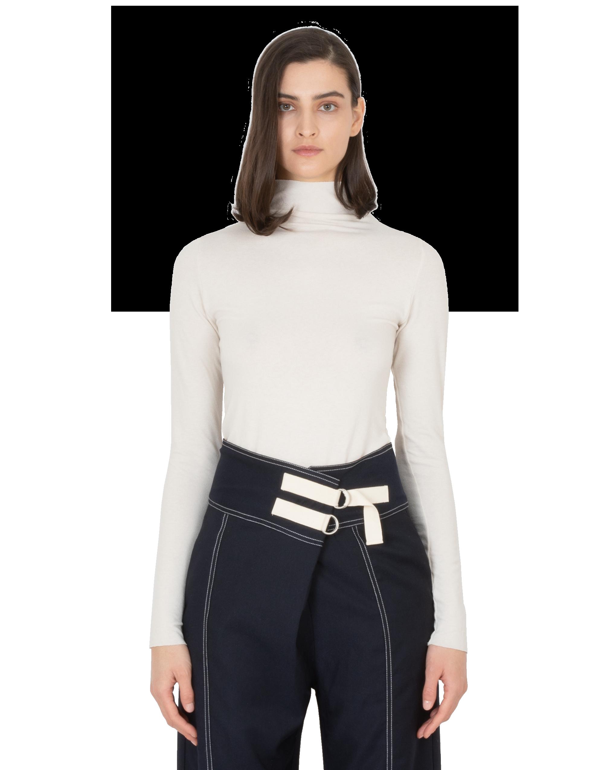 Model wearing EMIN + PAUL cream second skin jersey blouse.