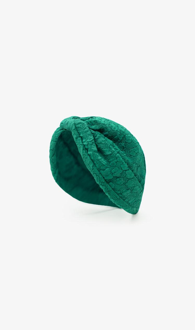 Green floral embossed headband