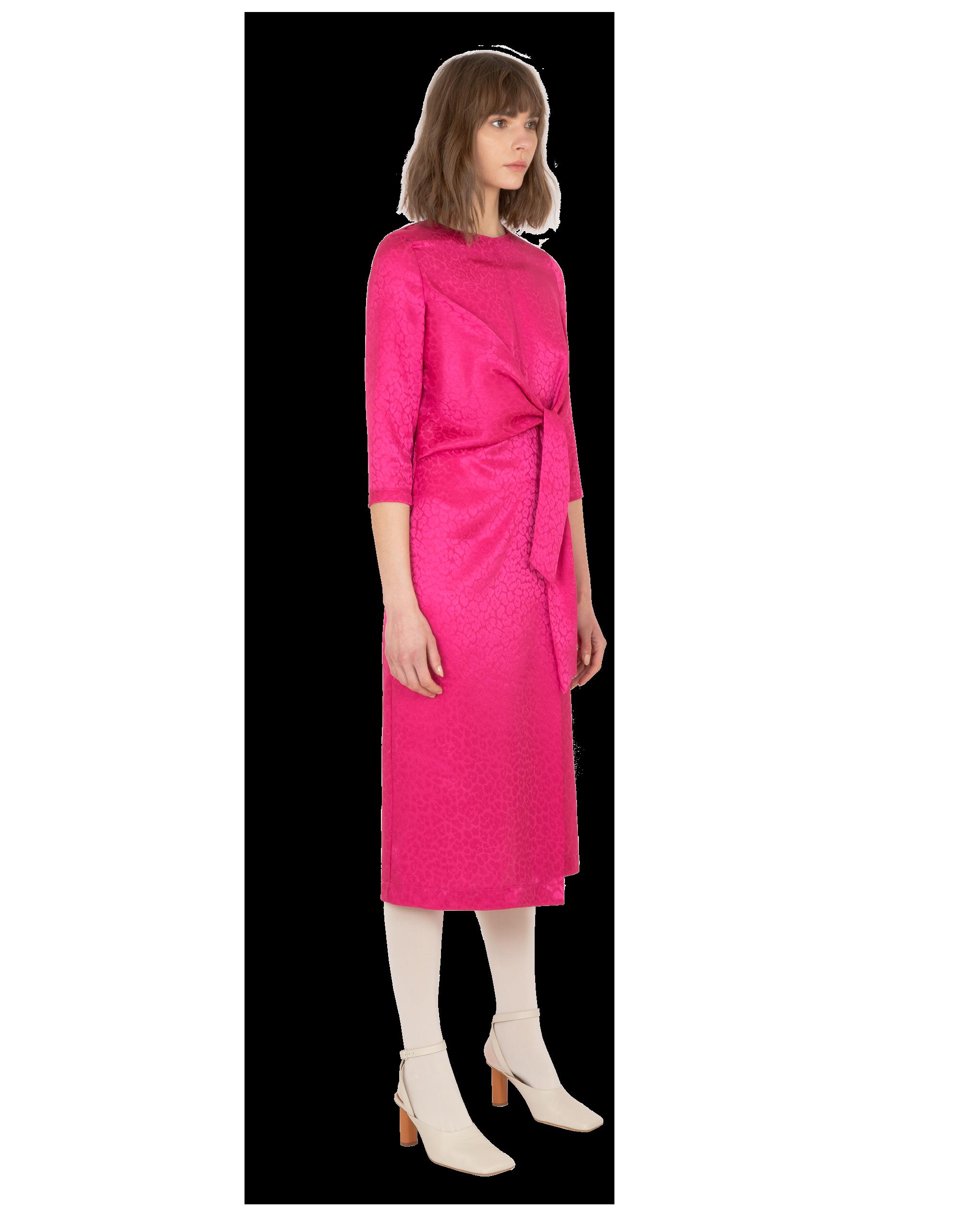 Model wearing EMIN + PAUL magenta tie front dress.